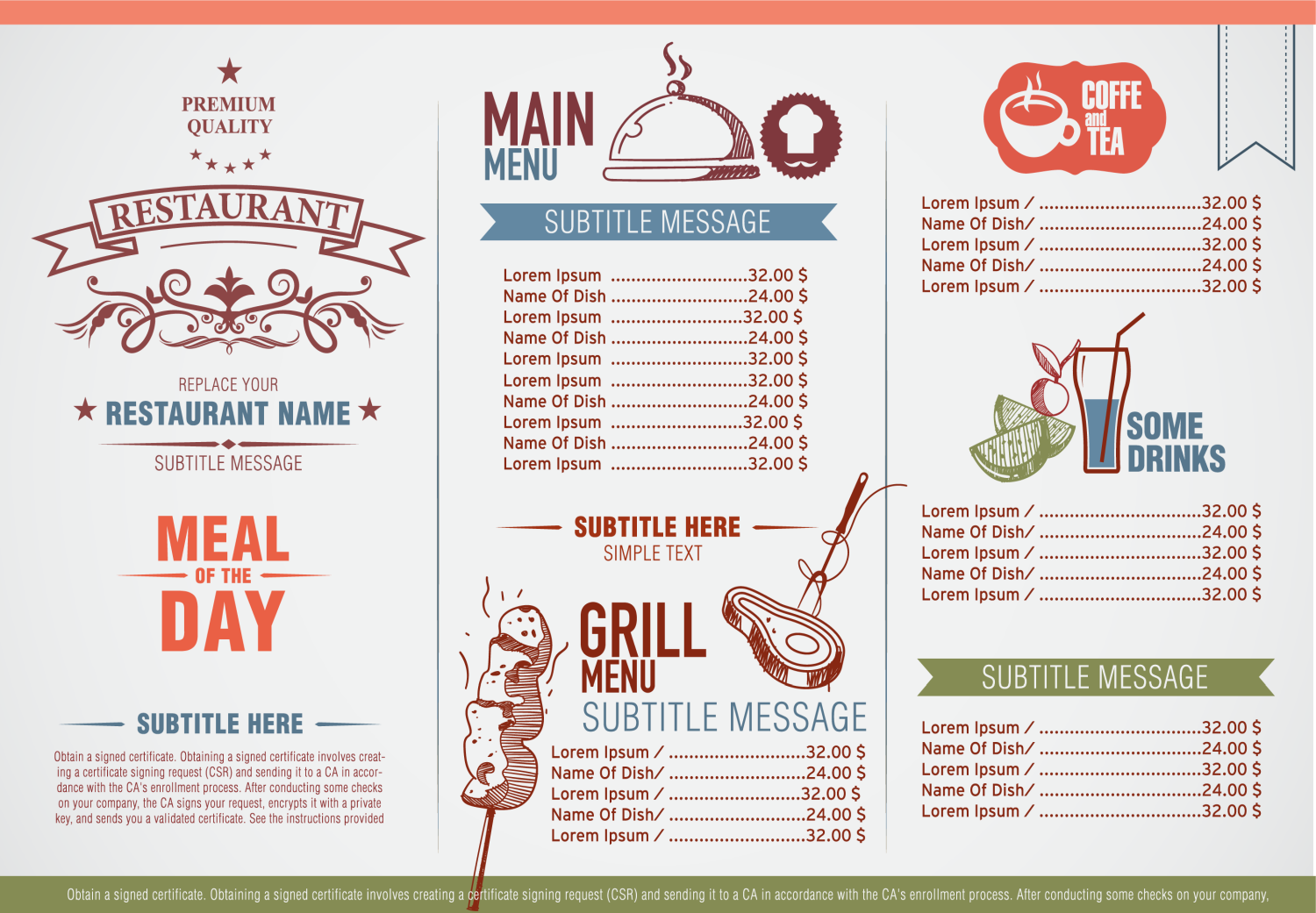 Carry Out Menu Printing